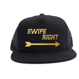 Black on Black - Swipe Right Hat - Gold