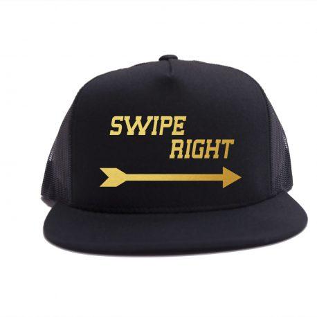 Black on Black - Swipe Right Hat - Gold