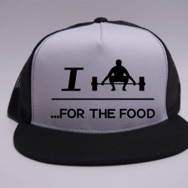 I lift for the food - white on black - black