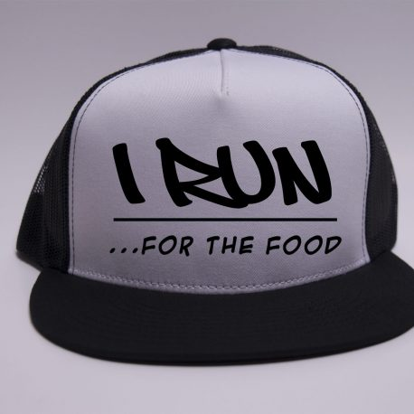 I run for the food - white on black - black