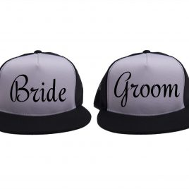 White on Black - Bride and Groom Hats - Black - Script
