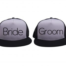 White on Black - Bride and Groom Hats - Black - Thin